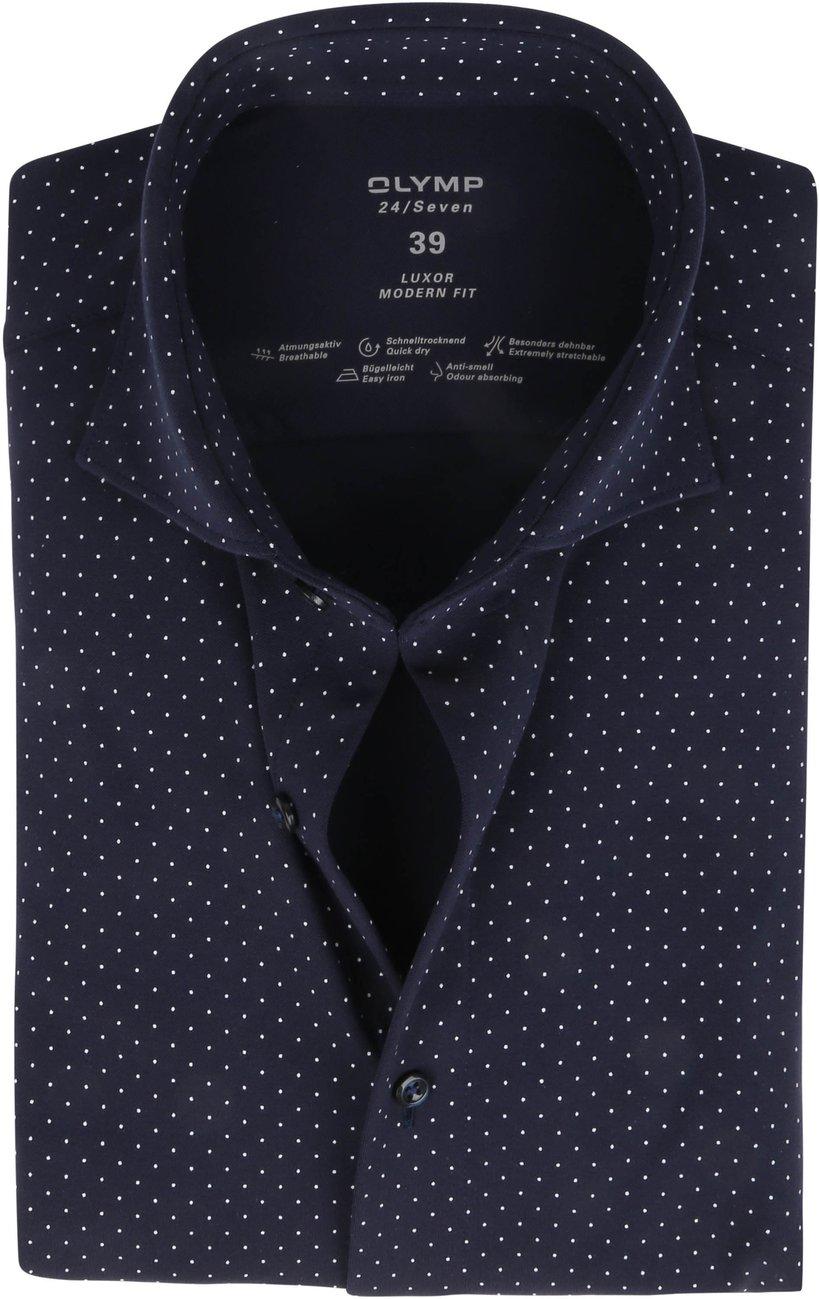 OLYMP-Luxor-Jersey-Stretch-Overhemd-24-Seven-Stippen-Donkerblauw