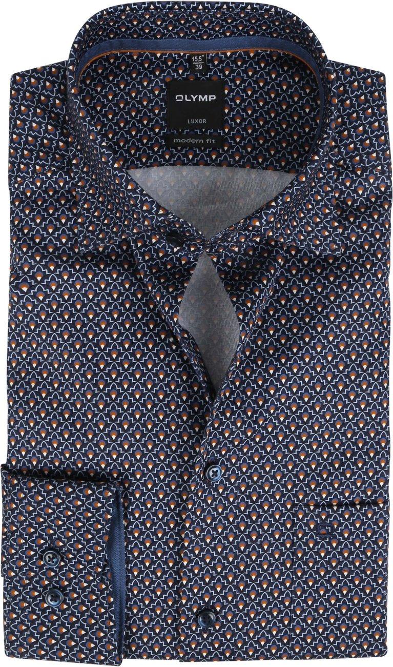 OLYMP-Overhemd-Luxor-MF-Grafisch-Minimal-Donkerblauw
